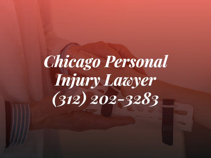chicago personal injury lawyer text with phone number over a picture of an injured person