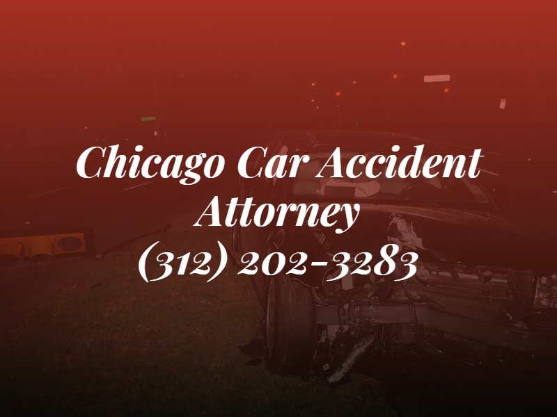 chicago car accident attorney text overlayed over picture of car accident